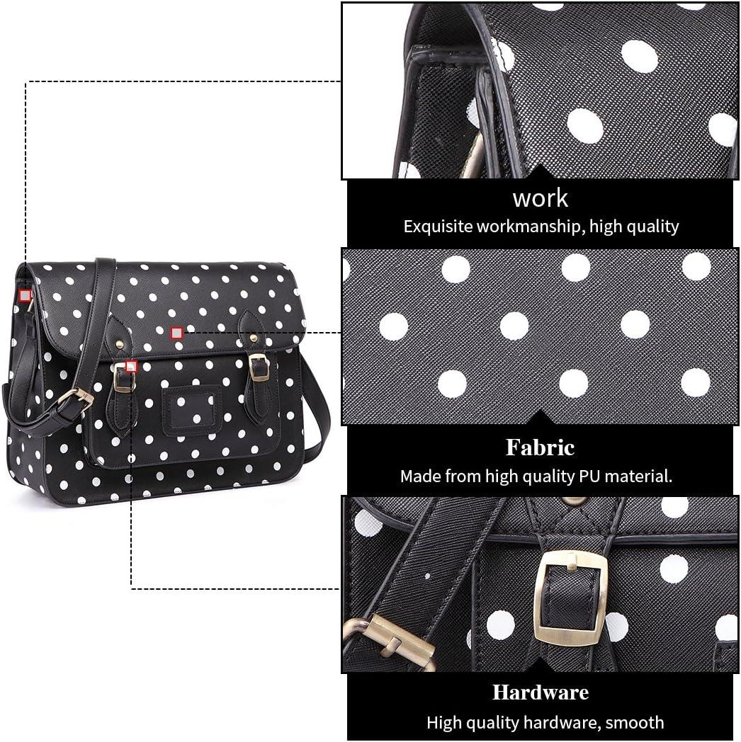 Miss Lulu Brand Dise/ñador vintage Lunares cuero de imitaci/ón Malet/ín de trabajo Bolso satchel Bolsa para la escuela
