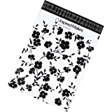 Poly Mailers 10x13 - Black Floral Print - Premium Unpadded Shipping Envelopes - Pack of 100