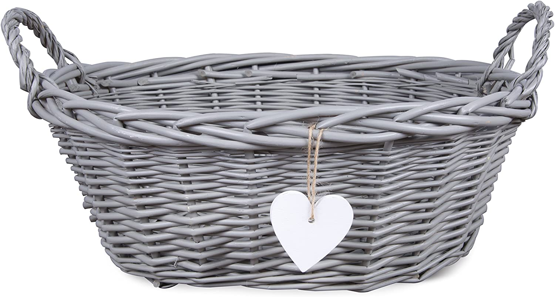 Eared Grey Painted Matte Wicker Display Gift Hamper Bread Decoration Basket