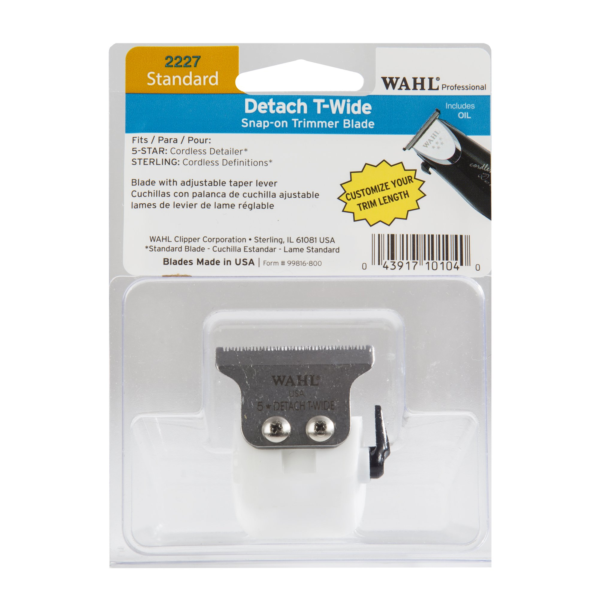 Wahl Professional Standard Detach T Wide Snap On Trimmer Blade #2227 – For the 5 Star Cordless Detailer and the Sterling Cordless Definitions – Includes Oil