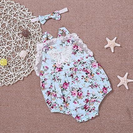 Guguogo Verano sin mangas bebé recién nacido bebé niña Suspenders pelele con estampado de flores multicolor