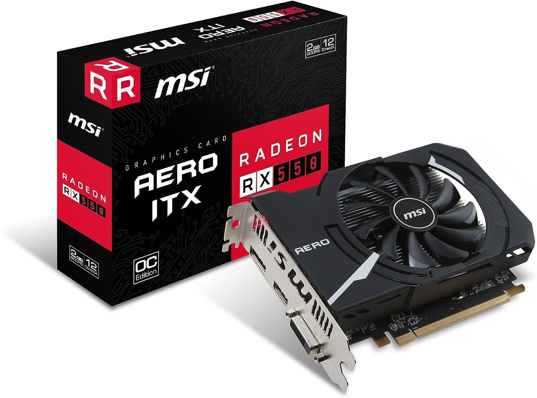 MSI Gaming Radeon RX 550 128-bit 2GB GDRR5 DirectX 12 VR Ready Graphcis Card (RX 550 AERO ITX 2G OC)