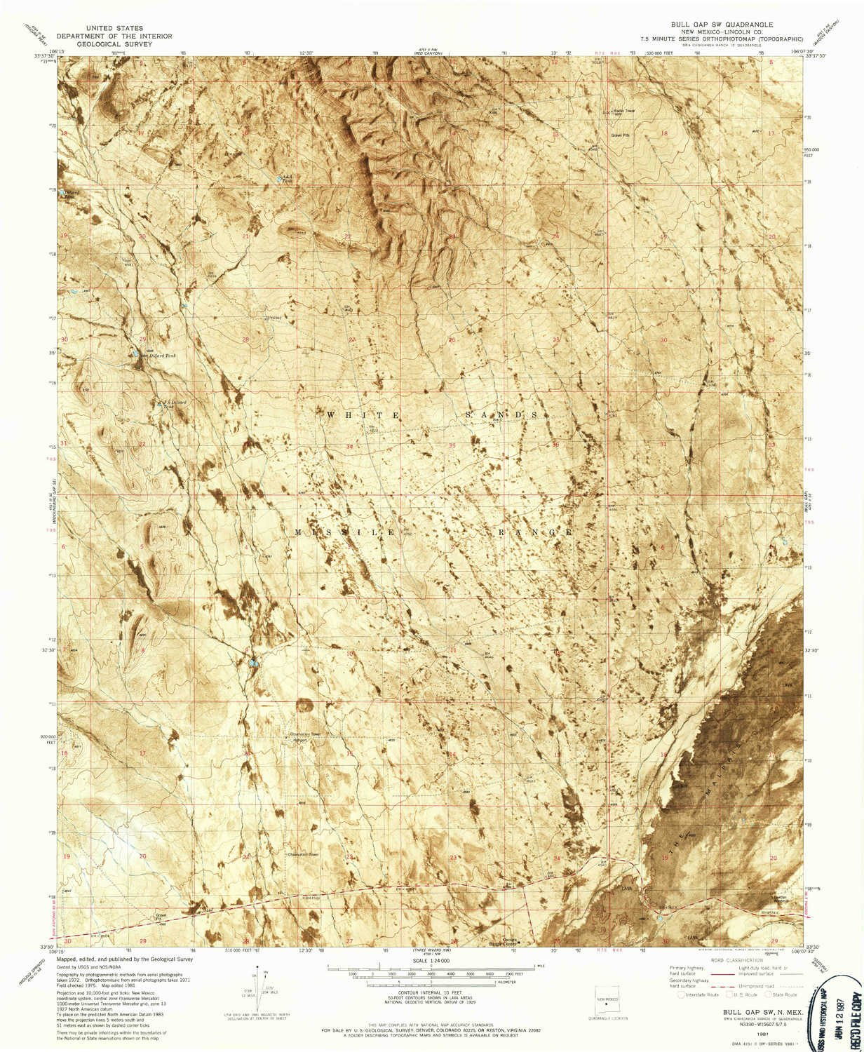 Amazon YellowMaps Bull Gap SW NM topo map 1 scale 7 5