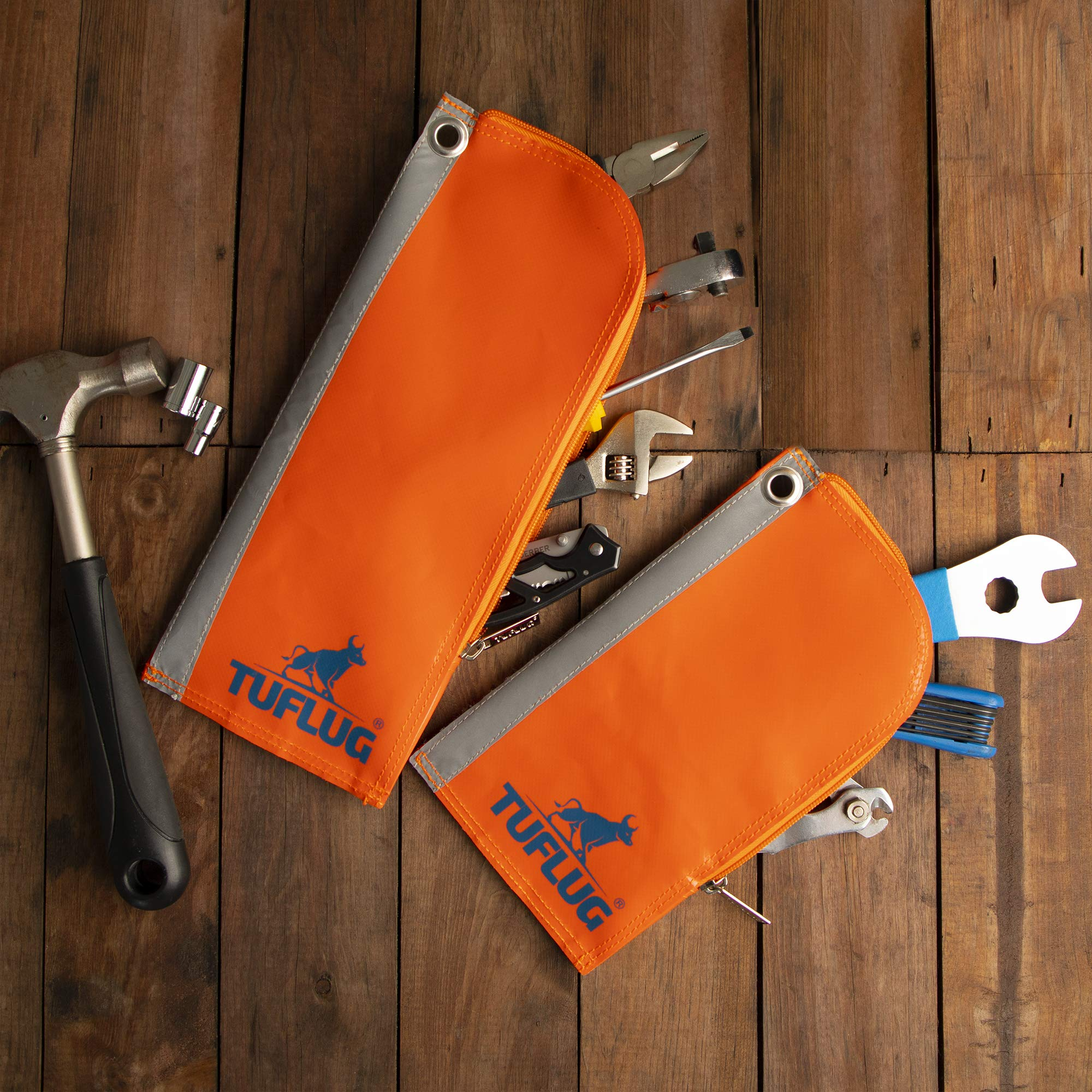 Heavy Duty Zipper Tool Pouch, 2 Pack, 12inch and 9inch - Waterproof, Lightweight, Multipurpose Utility Bag Carry Case For Small Tools - Storage Pouches, Accessories for Work Belts - PVC, Canvas by TUFLUG (Image #6)