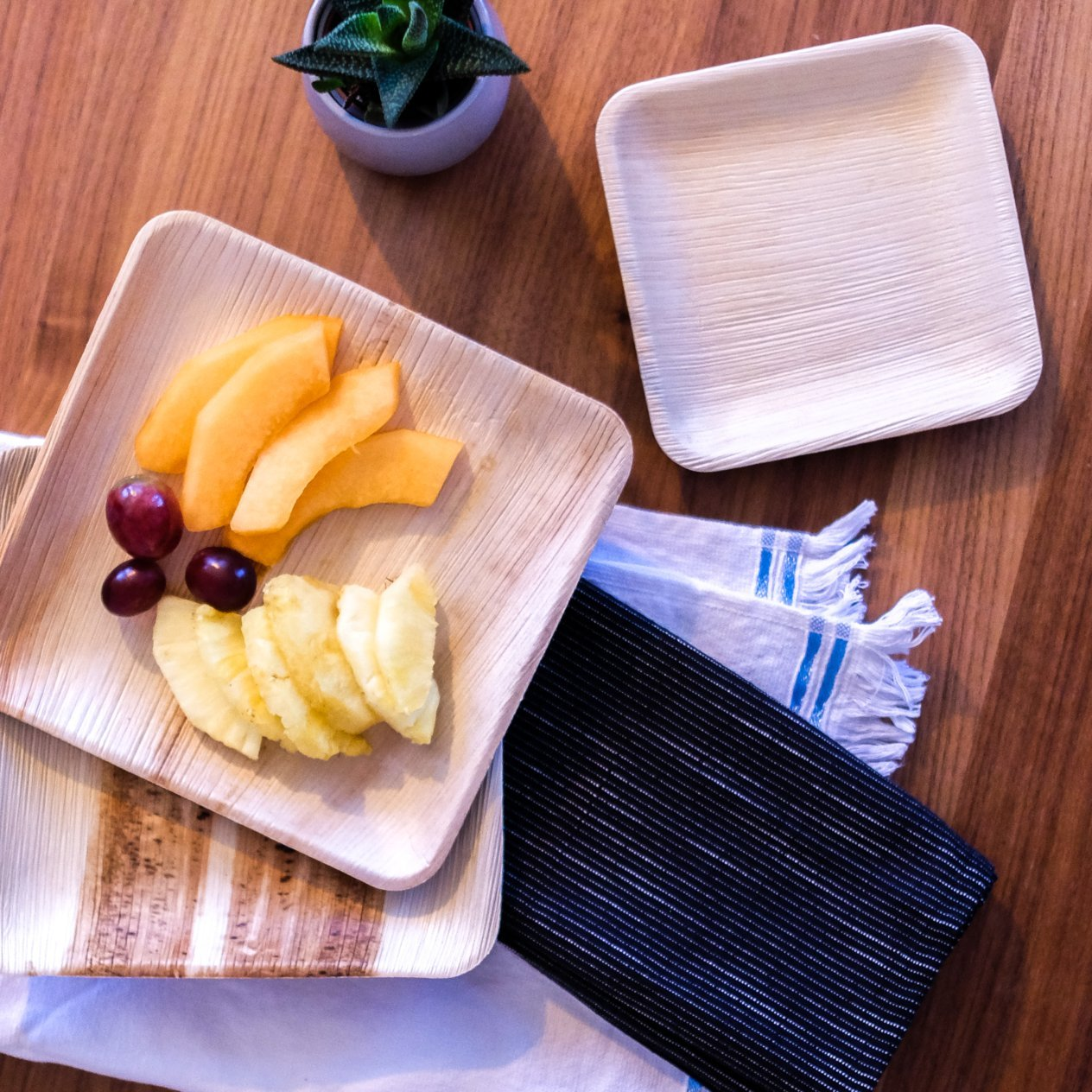 6'' Square Disposable Palm Leaf Paper Plates: Compostable, Biodegradable Heavy Duty Dinner Party Plate - Comparable to Bamboo Wood - Elegant Plant Based Dishware: (25 Pack) by Naturally Chic Dinnerware (Image #5)