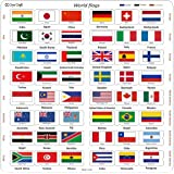Cryo Craft Wooden World Flag Puzzle Board, 48 Countries (29 x 29 x 0.6 cm)