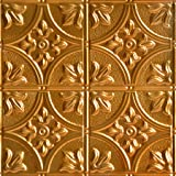 Shanko SKPC503-lnop-24x24-D-12 Victory Stamped Metal Lay-in Tin Ceiling Tile Lincoln Copper 48 sq. ft