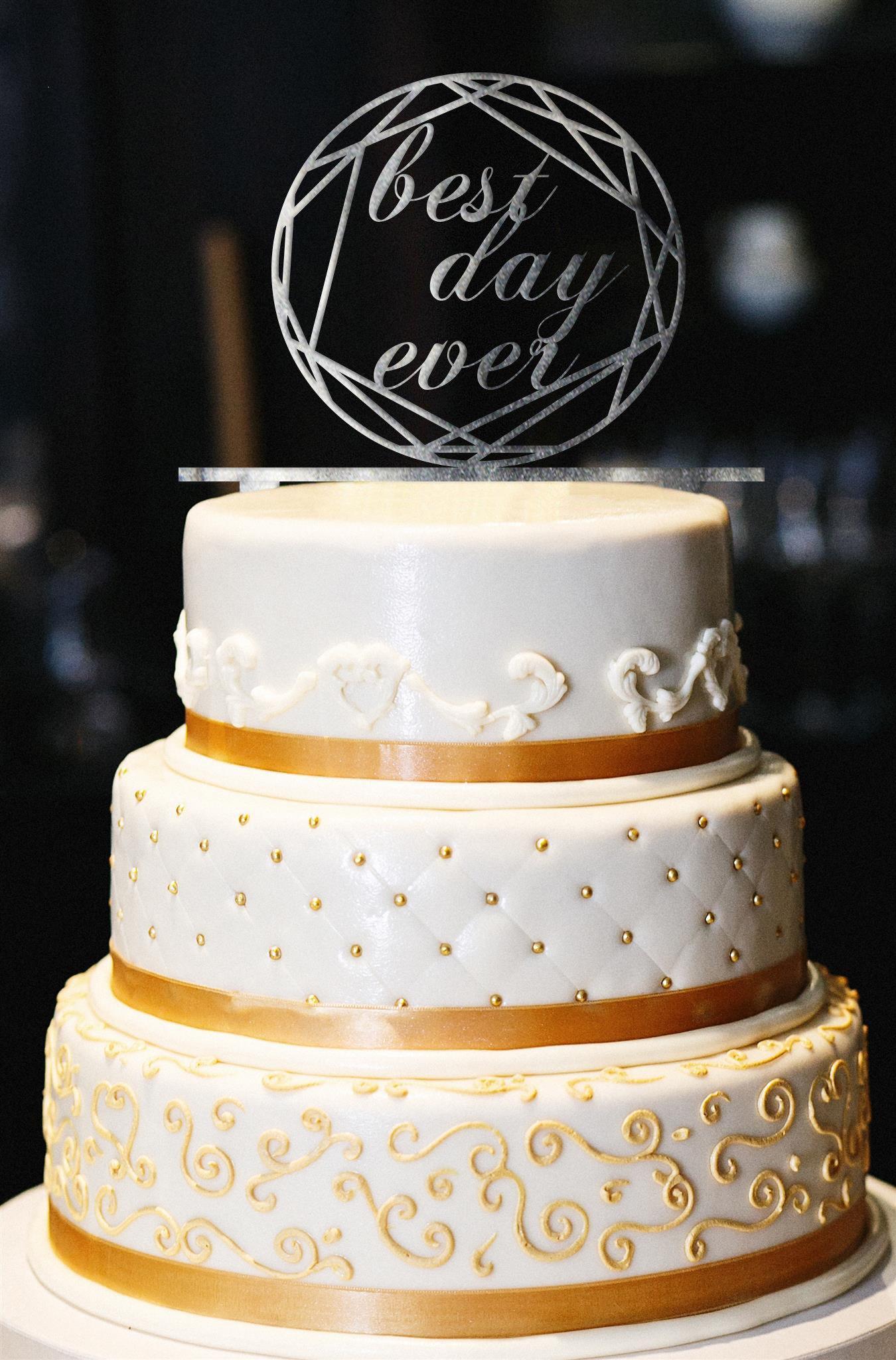 Best Day Ever Wedding Cake Topper, Wedding Cake Topper, Engagement Cake Topper, Gold Cake Topper, Gold Glitter Cake Topper, Anniversary (13'', Pearl Smoke)