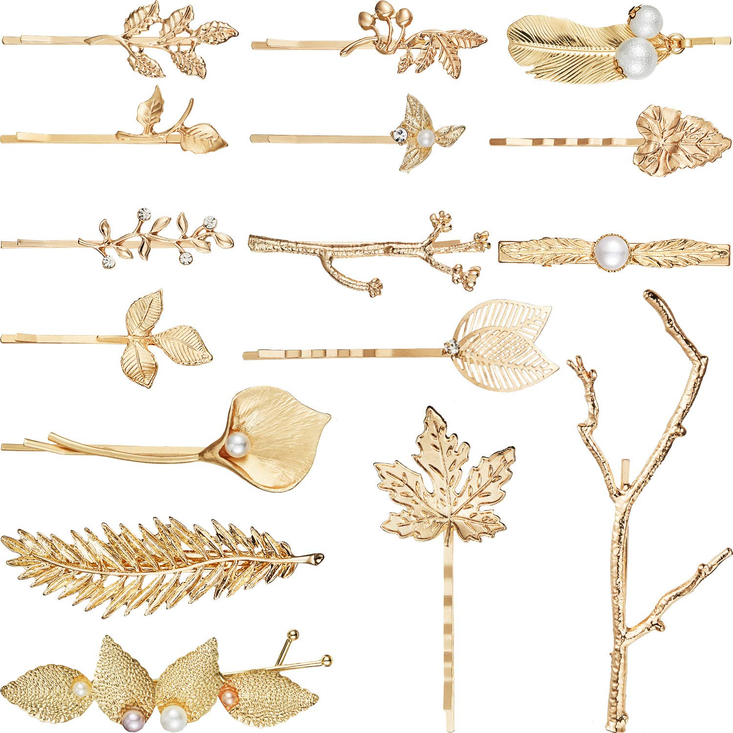 16 Pieces Gold Metal Leaf Hair Clips Minimalist Hair Barrettes Bobby Pins for Women and Girls Hair Accessories (Style…