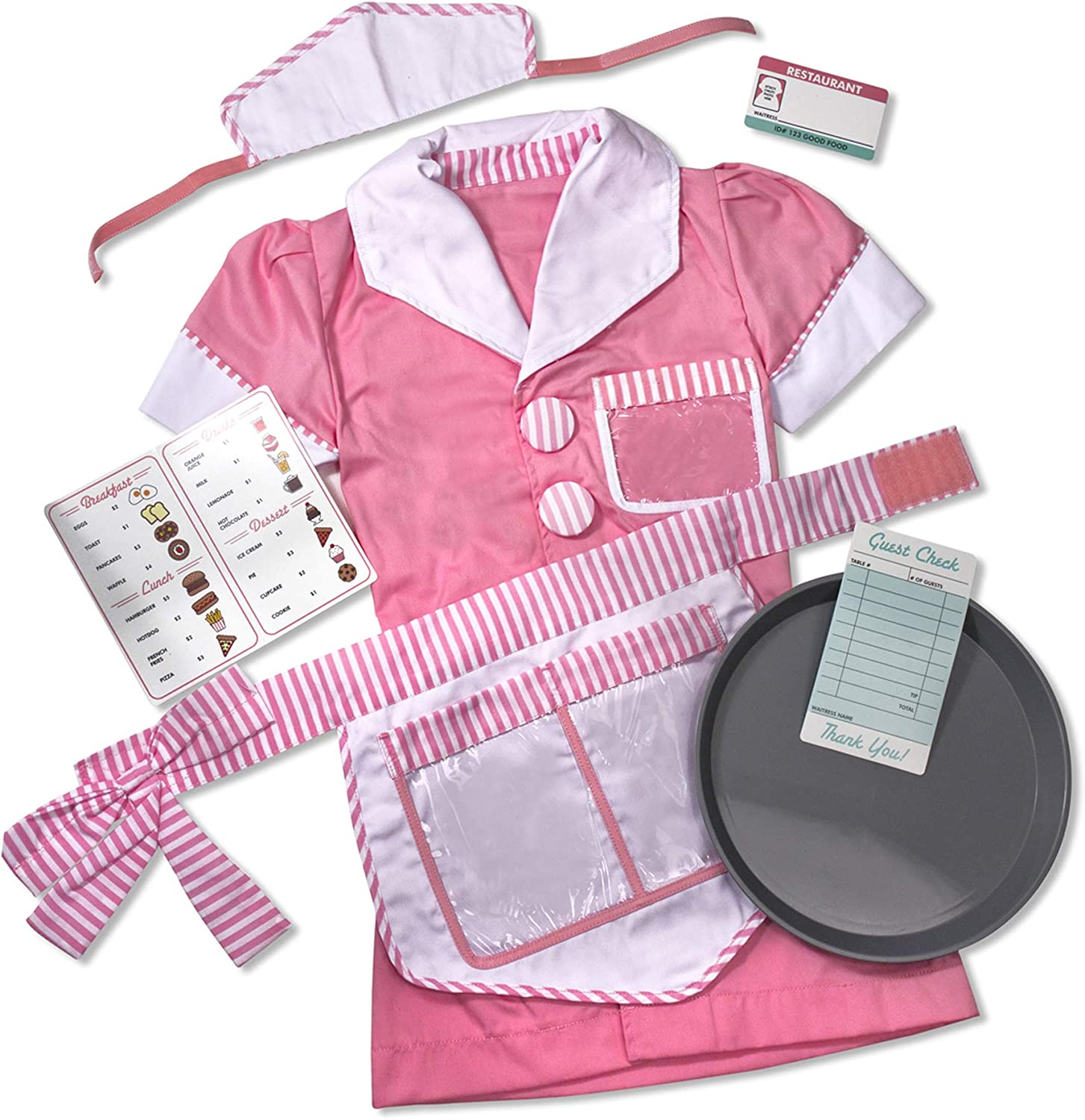 YuDanae Girls Waitress Costume Set Chef Role Play Cooking Playset with Apron for Kids Toddler Girls Aged 3-7
