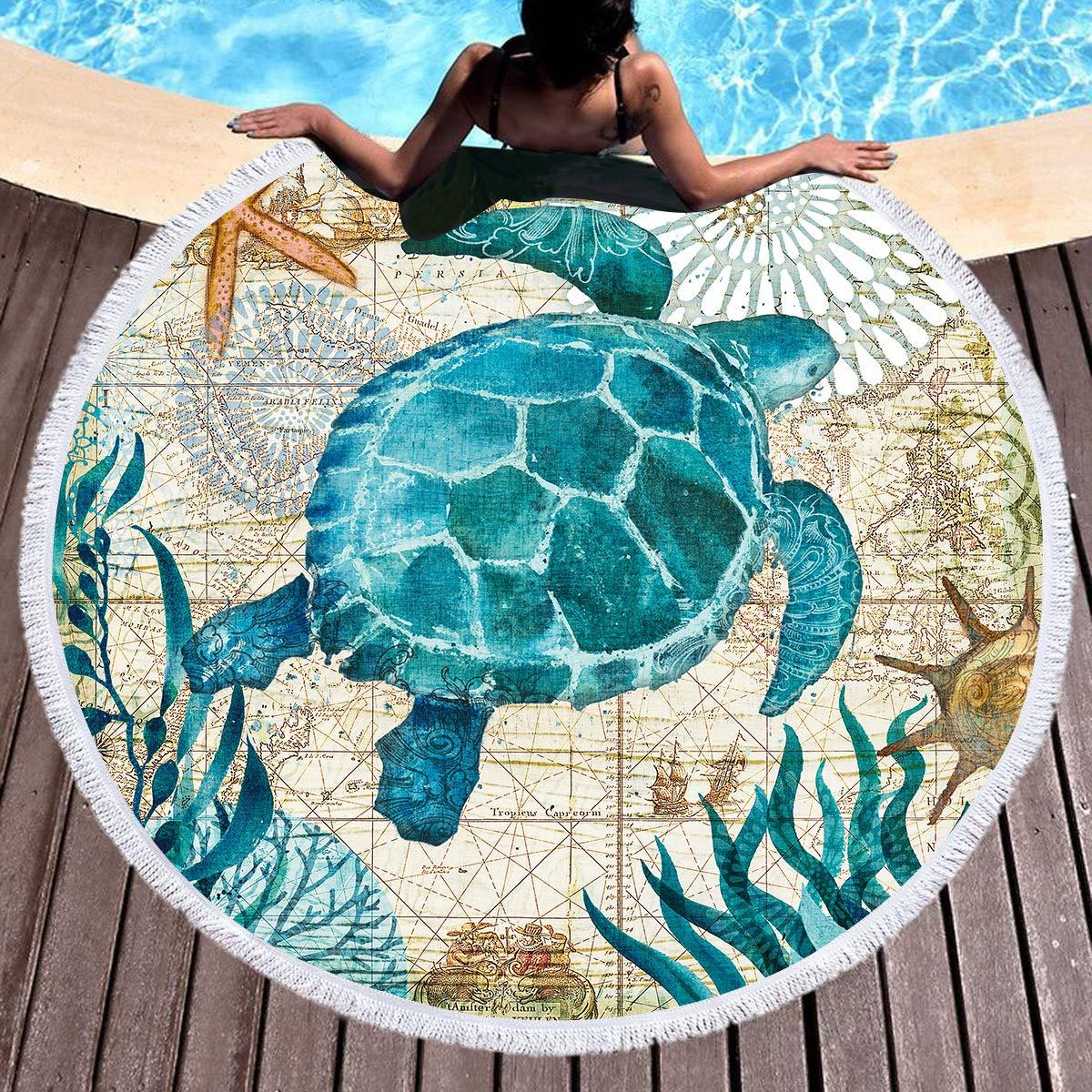 SearchI Toalla de Playa Redonda,Microfibra Mantas de Playa con Estampado de Animales Marinospara Tapices Decorativos Toalla Redonda Estera de Yoga Esterilla de Picnic Alfombras Manteles Mandala