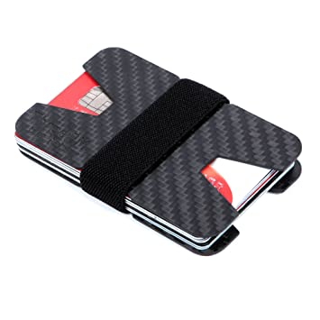 0993eb06a2f1 Image Unavailable. Image not available for. Colour  Carbon Fibre ID  Minimalistic Cool Wallet Money Clip And Credit Card Holder Slim ...
