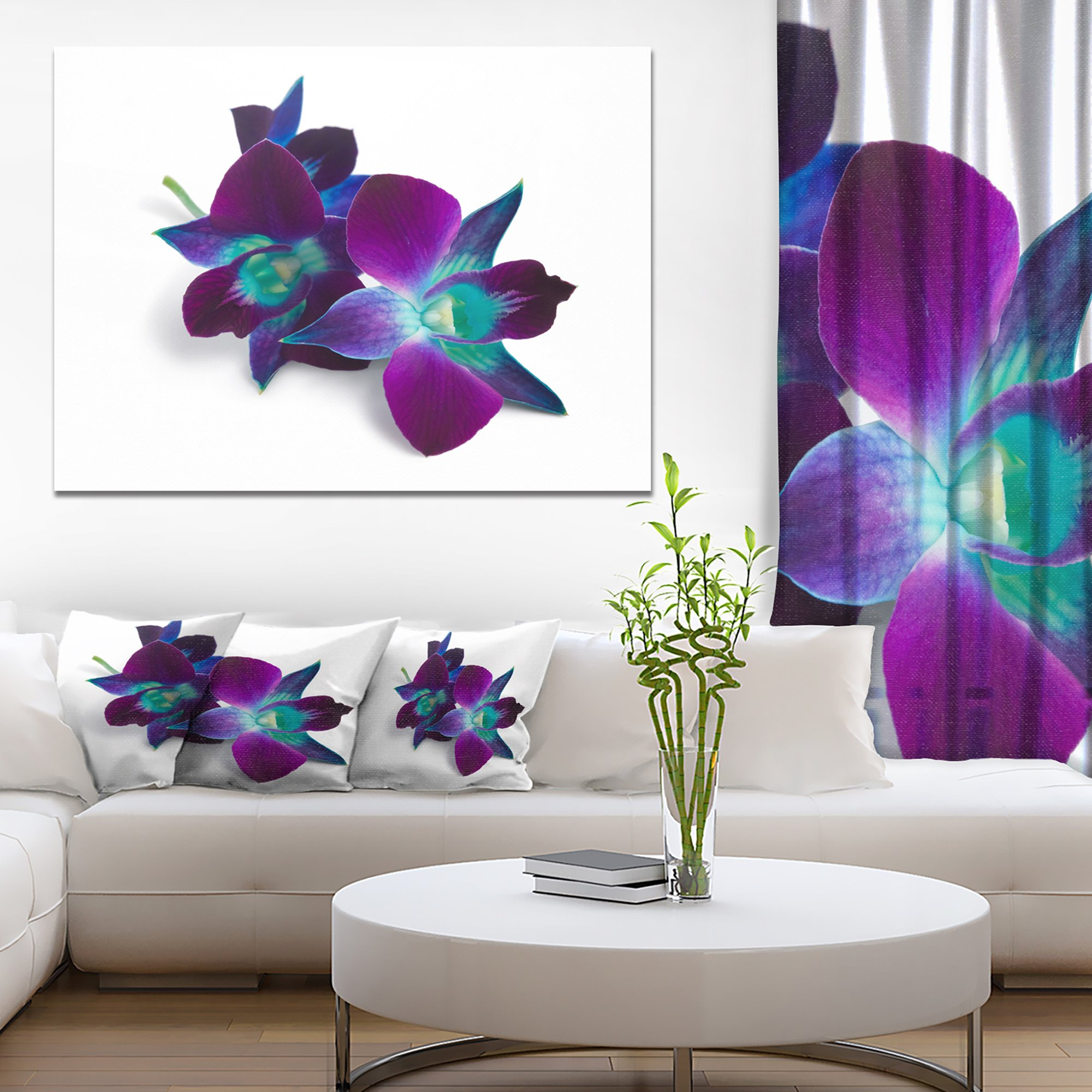 Deep Purple Orchid Flowers on White Flowers Canvas Wall Artwork by Design Art