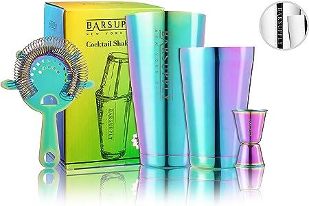 Professional Boston Cocktail Shaker Set, 4-Piece Bar Set, Stainless Steel, 28oz 18oz Weighted Shaker Tins, Hawthorne Strainer, Double Sided Jigger, Recipe Booklet, Bartender Kit Rainbow Chrome