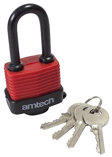 Am-Tech T0760 40 mm Long Shackle Weatherproof Padlock - Red