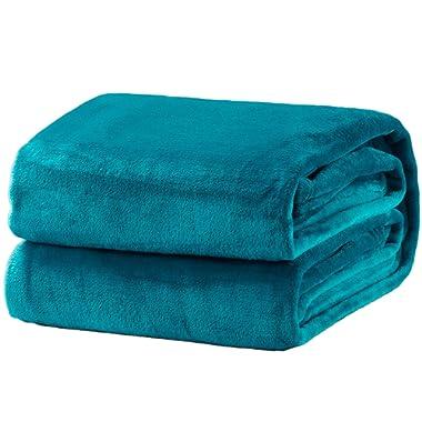 Bedsure Fleece Blanket Queen Size Teal Lightweight Super Soft Cozy Luxury Bed Blanket Microfiber