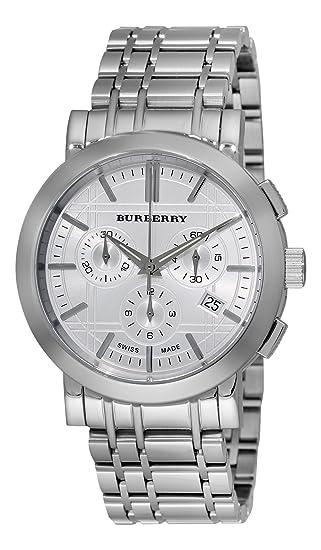 Burberry BU1372 Heritage de hombre plata cronógrafo dial