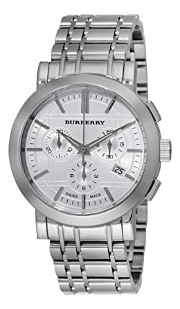 e27ab8f4198 Image Unavailable. Image not available for. Color  Burberry Men s BU1372  Heritage Silver Chronograph Dial Bracelet Watch