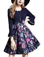 DanMunier Women's Trumpet Sleeve Print Floral A-Line Dress #8024