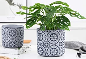 Medium Small Size Cement Pots for Plants - 6 Inch 4.7 Inch Concrete Flower Pot -Modern Home Decor Christmas Decorative for Indoor and Outdoor Plants, Succulent Planters -Snow Royal Blue Set of 2