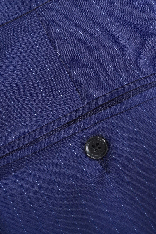 CMDC Men's 3 Pieces Business Suits Slim Fit Stripe Blazer Jacket Vest Pants Set SI137 (Blue,40) by CMDC (Image #8)