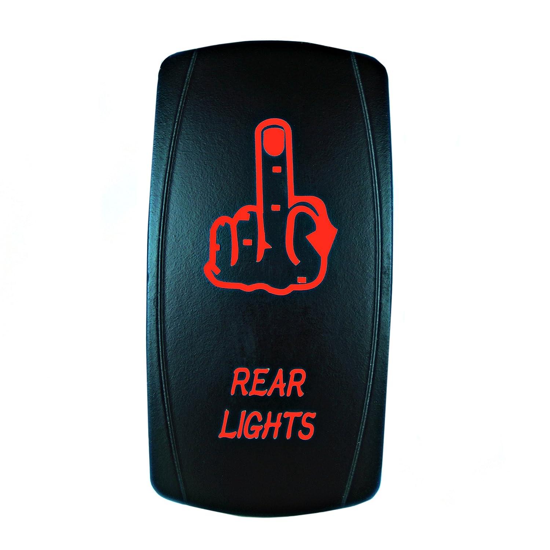 Bright Light Powersports - Laser Rocker Switch - REAR LIGHTS (MIDDLE FINGER) - Universal On/Off - 12 Volt (green)