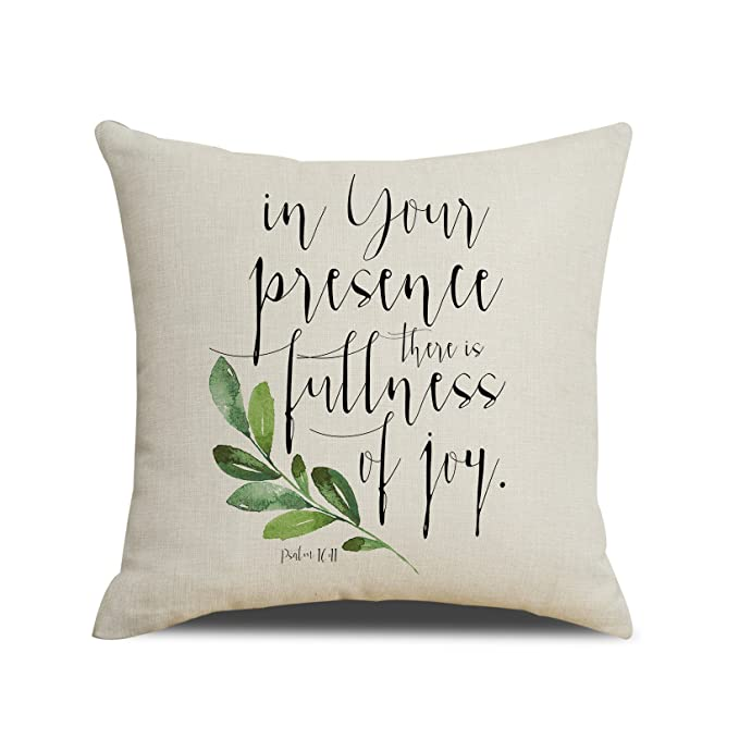 MENGT in Your Presence, There is Fullness of Joy - Scripture Art Pillow Cover Bible Verse Wall Art Pillow Bible Verse Prints