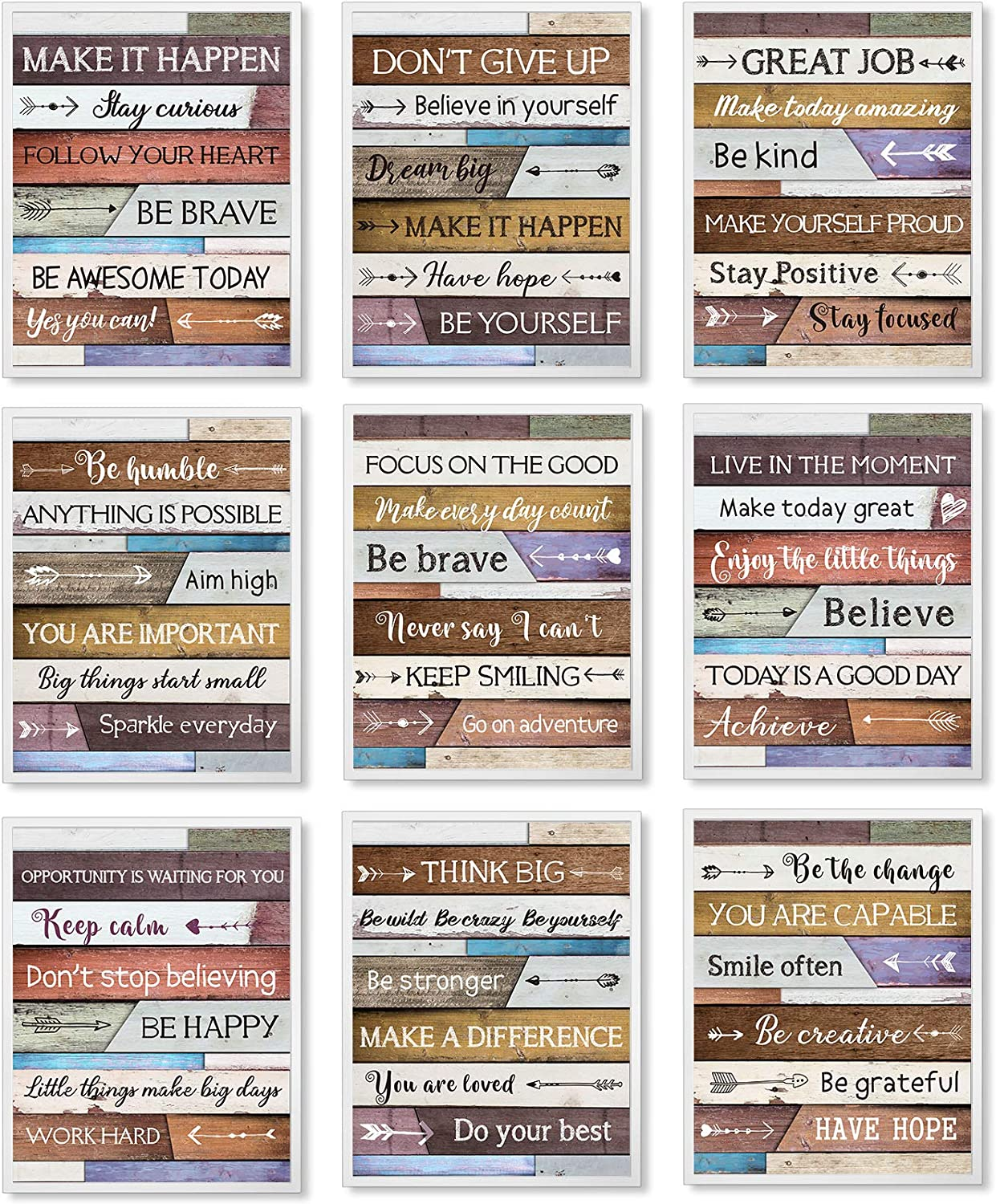 9 Pieces Inspirational Wall Art for Office Inspirational Motivational Poster Motivational Wall Art Motivational Quote Office Wall Art, Inspirational Quote Wall Decor for Bedroom Living Room, Unframed