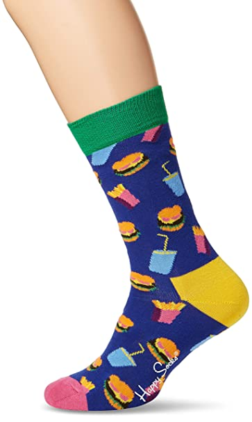 Happy Socks Hamburger Sock, Calcetines para Mujer, Azul (Navy 6000), 36