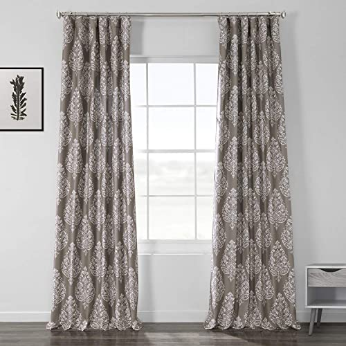 HPD Half Price Drapes BOCH-DLN193A-108 Printed Linen Textured Blackout Curtain 1 Panel