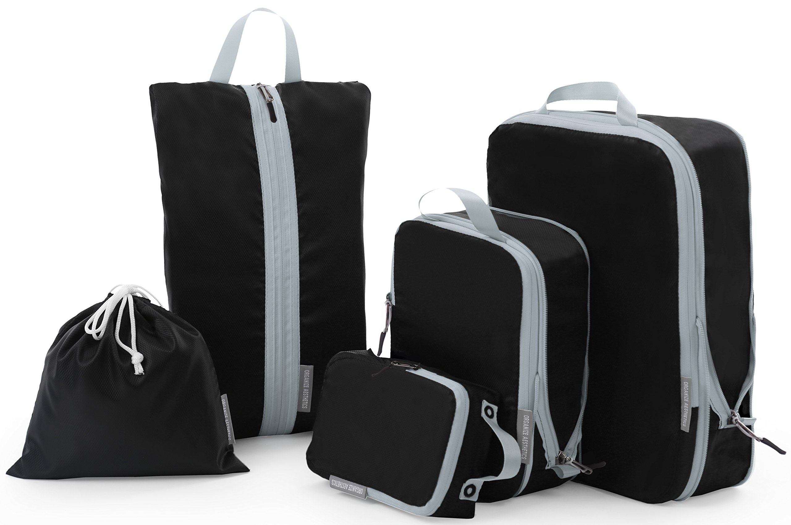Compression Packing Cubes, JJ POWER Travel Backpack Organizers X-Large 2 Set (Five set- Black)
