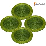 Set of 4 Handmade GREEN Beaded Round Coffee Tea Coasters - 4 Inches Placemats for Tea cups - Beaded Coaster - Diwali Gift with WOODEN KEYRING by Prisha India Craft