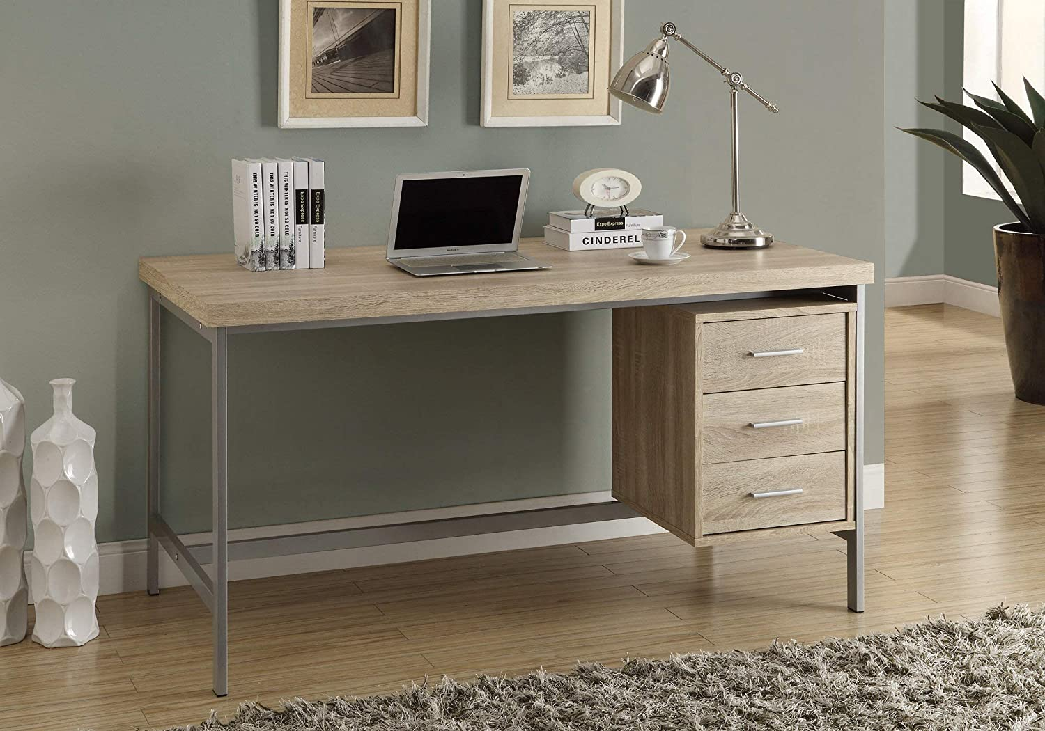 "Monarch Specialties I 7245 Home & Office Computer Desk with Drawers-Metal Frame, 60"" L, Natural"