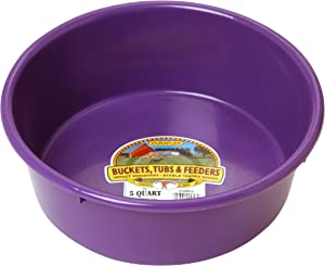 Little Giant Plastic Utility Pan (Purple) Durable & Versatile Short Livestock Feeding Bucket (5 Quart) (Item No. P5PURPLE)