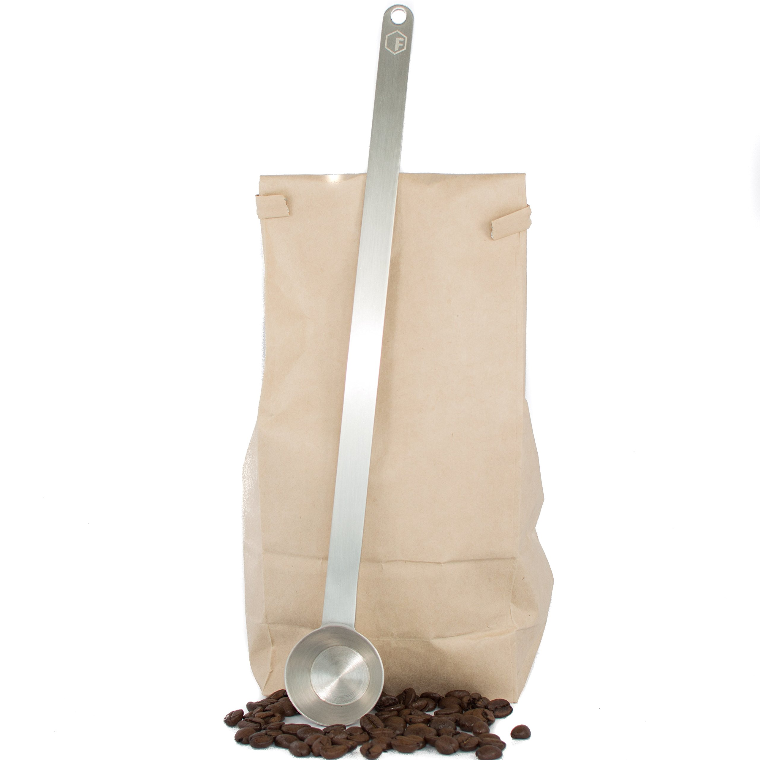 11.5'' Extra Long Coffee Scoop - 1 Tablespoon - Premium Grade 18/8 Stainless Steel - Reaches Bottom of Coffee Bags