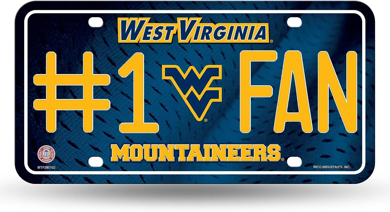 NCAA Rico Industries  #1 Fan Metal License Plate Tag West Virginia Mountaineers