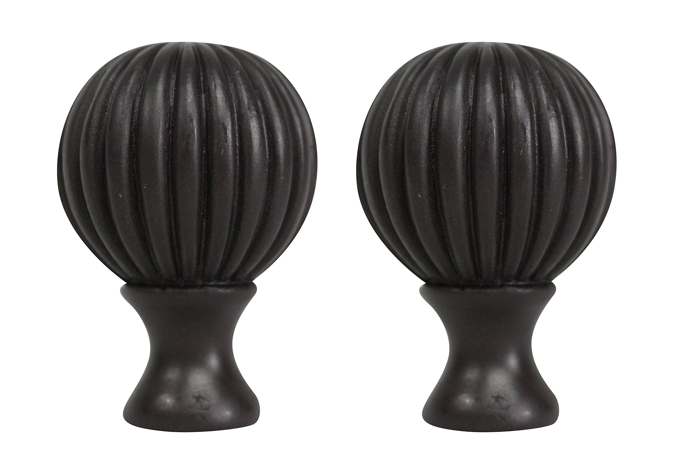 Urbanest Set of 2 Fluted Ball Lamp Finials, 2 1/8-inch Tall, Oil-rubbed Bronze