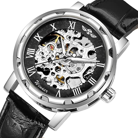 86a2c7a9d56 GuTe Steampunk Men s Analogue Self Wind Mechanical Skeleton Watch Roman  Numeral Black Leather Strap Luminous Silver