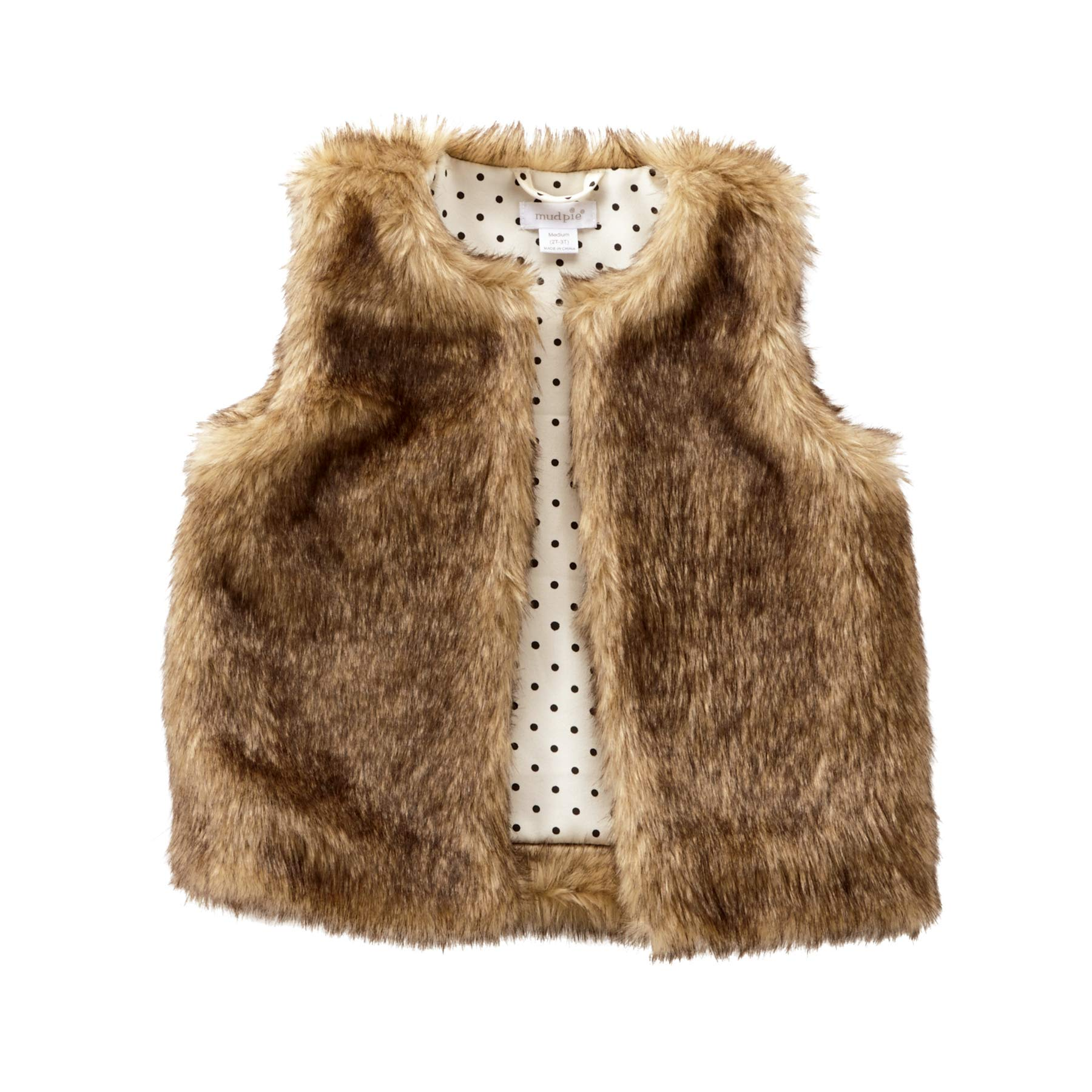 Mud Pie Baby Girl's Faux Fur Vest (Infant/Toddler) Brown MD (2T-3T Toddler) by Mud Pie