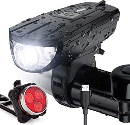 USB Rechargeable LED Bicycle Headlight Bike Head Light Front Rear Lamp Hot