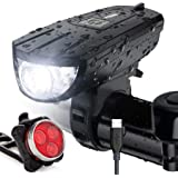 Vont 'Breeze' Bike Light Set, USB Rechargeable Bicycle Light, Instant Install, Fits All Bikes - 3 Modes, Bike Lights…