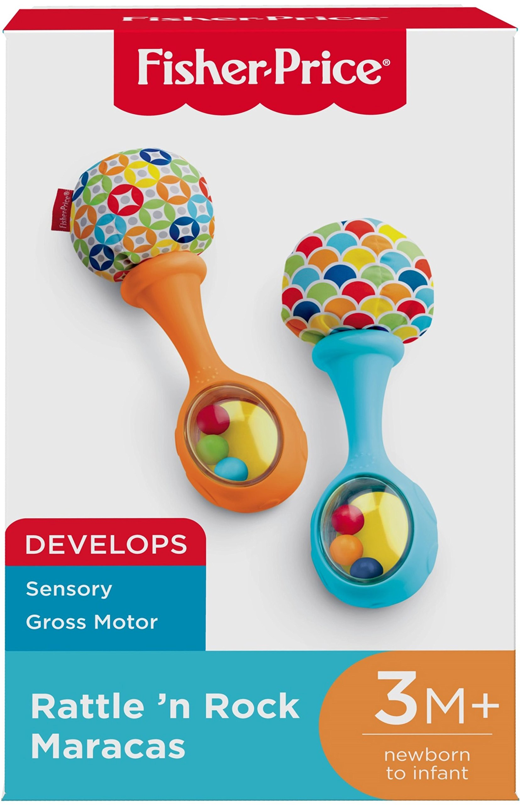Fisher-Price Rattle 'n Rock Maracas, Blue/Orange [Amazon Exclusive] 4 Includes 2 toy maracas Sized just right for little hands to grasp and shake Colorful beads make fun rattle sounds when shaken
