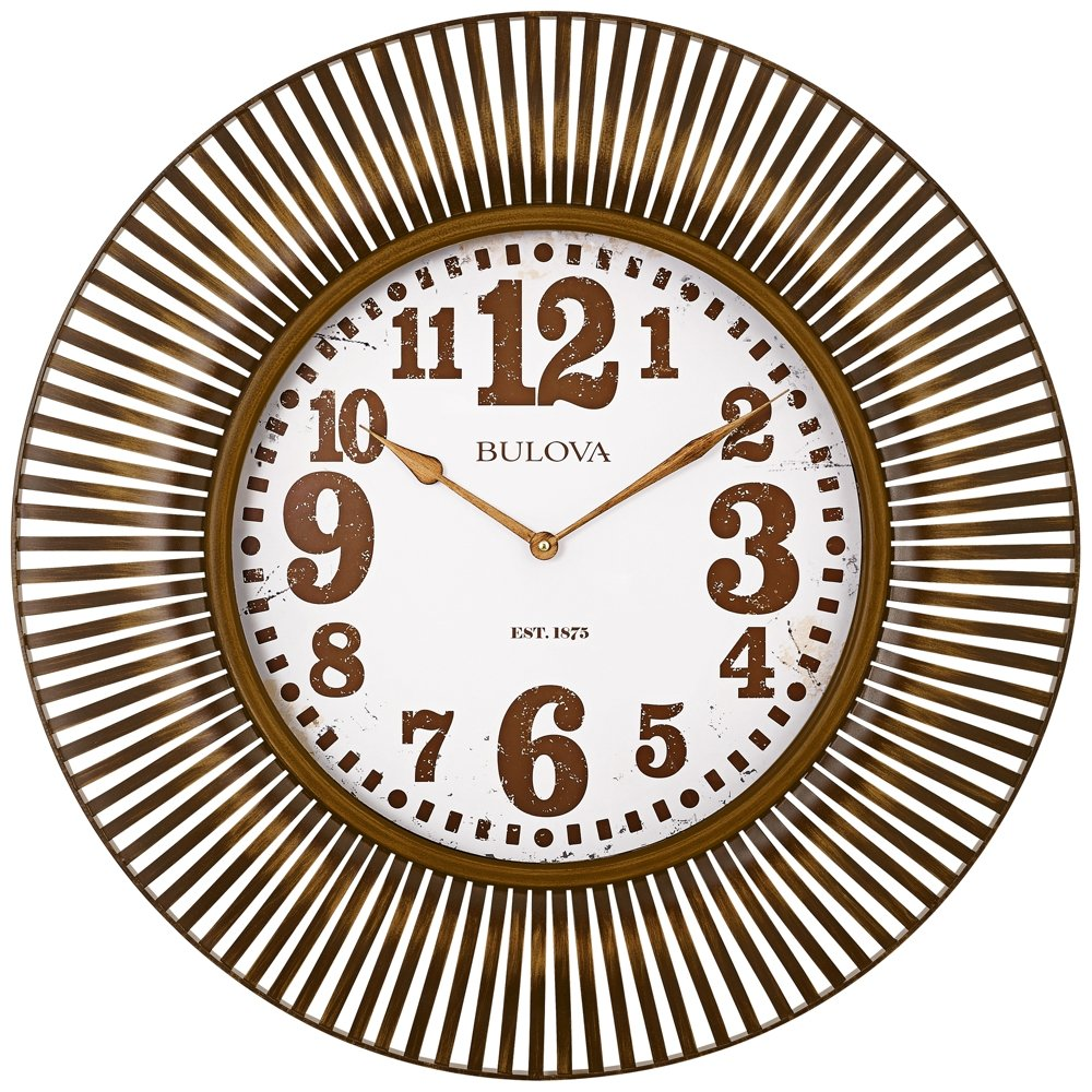Amazon Bulova Sunburst Wall Clock Gold Home Kitchen