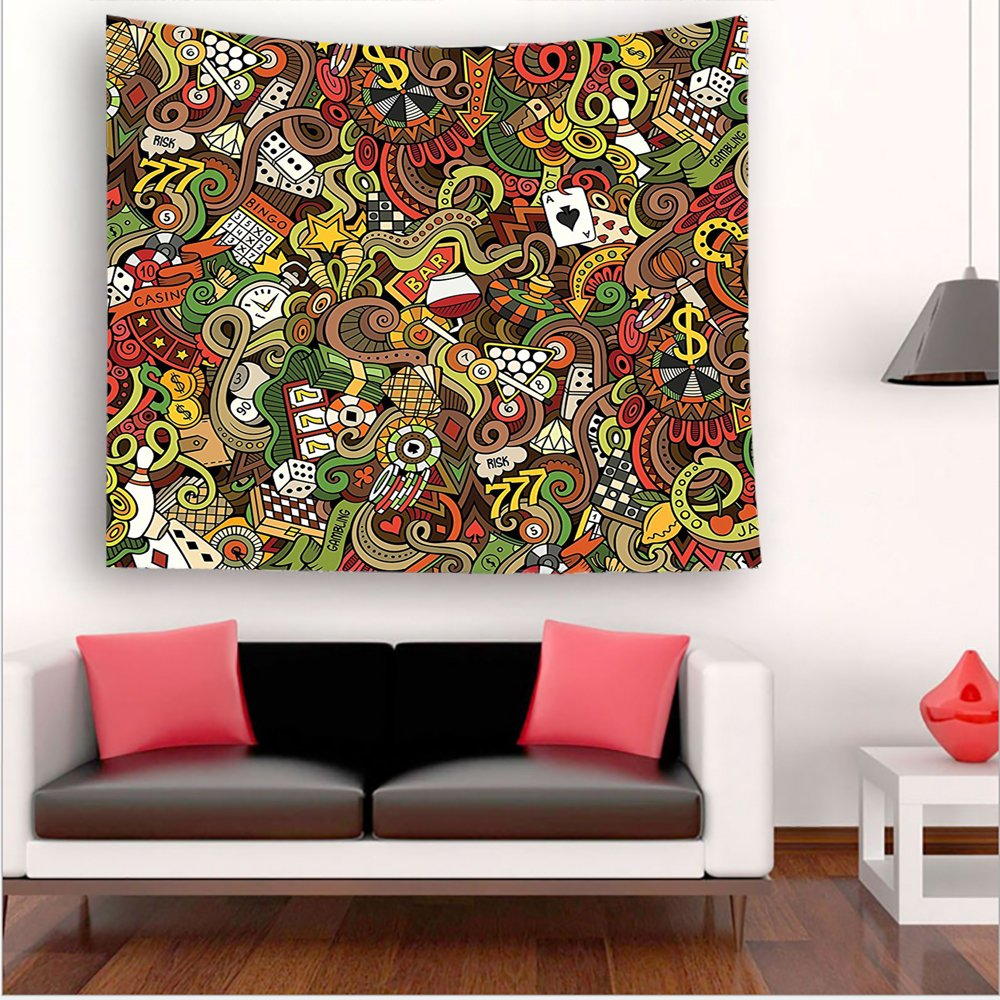 Nalahome-Casino Decorations Doodles Style Art Bingo Excitement Checkers King Tambourine Vegas tapestry psychedelic wall art tapestry hanging 59W x 59L Inches 51W x 51L Inches