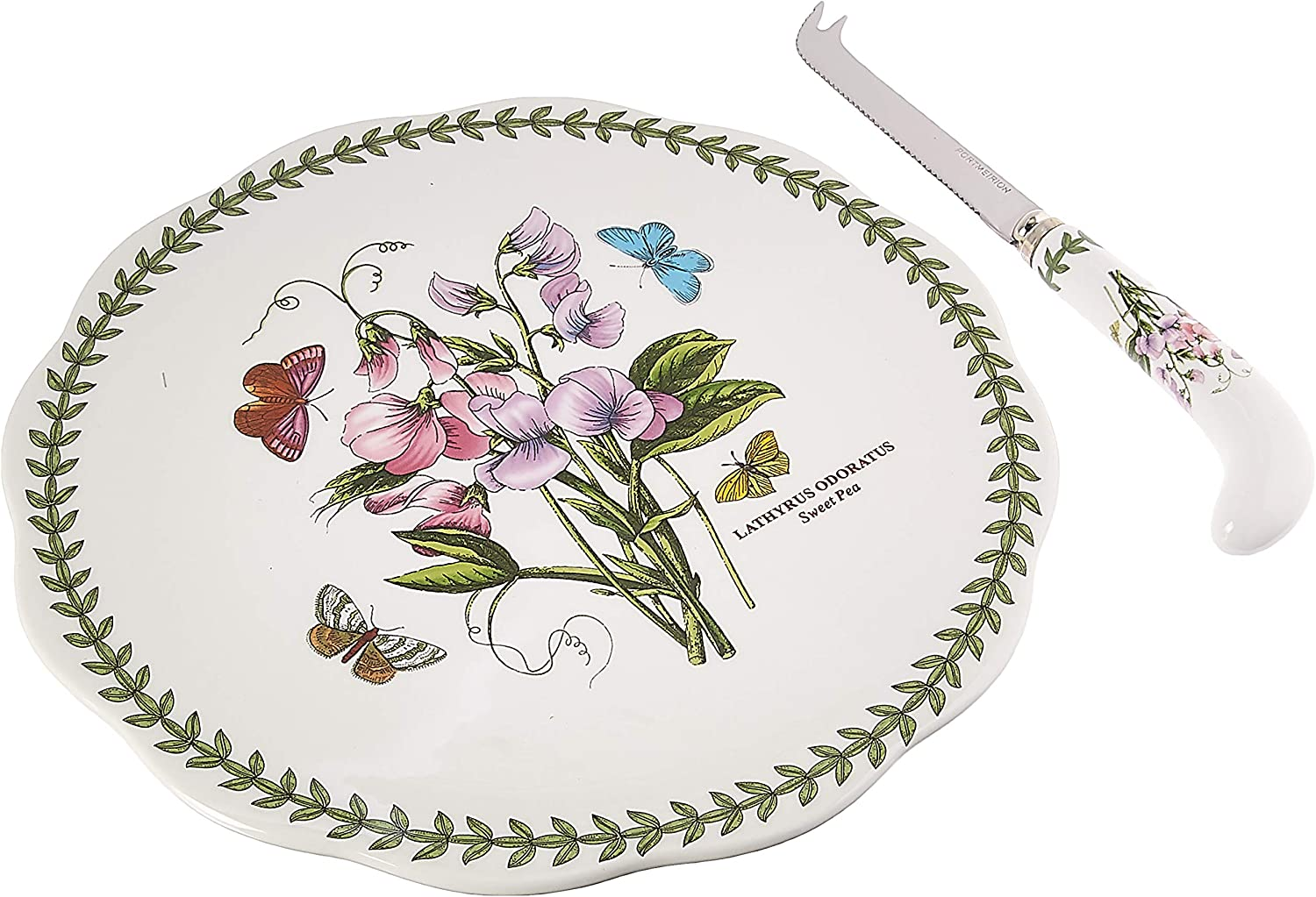 "Portmeirion Botanic Garden Cheese Plate & Knife, 9""/8"", White"
