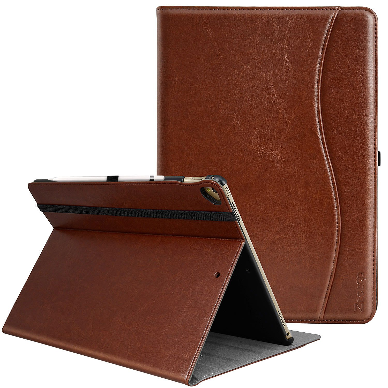 IPad Pro 12.9 Inch 2017/2015 Case, Ztotop Premium Leather Business Slim Folding Stand Folio Cover for New Apple Tablet with Auto Wake/Sleep and Document Card Slots, Multiple Viewing Angles,Brown