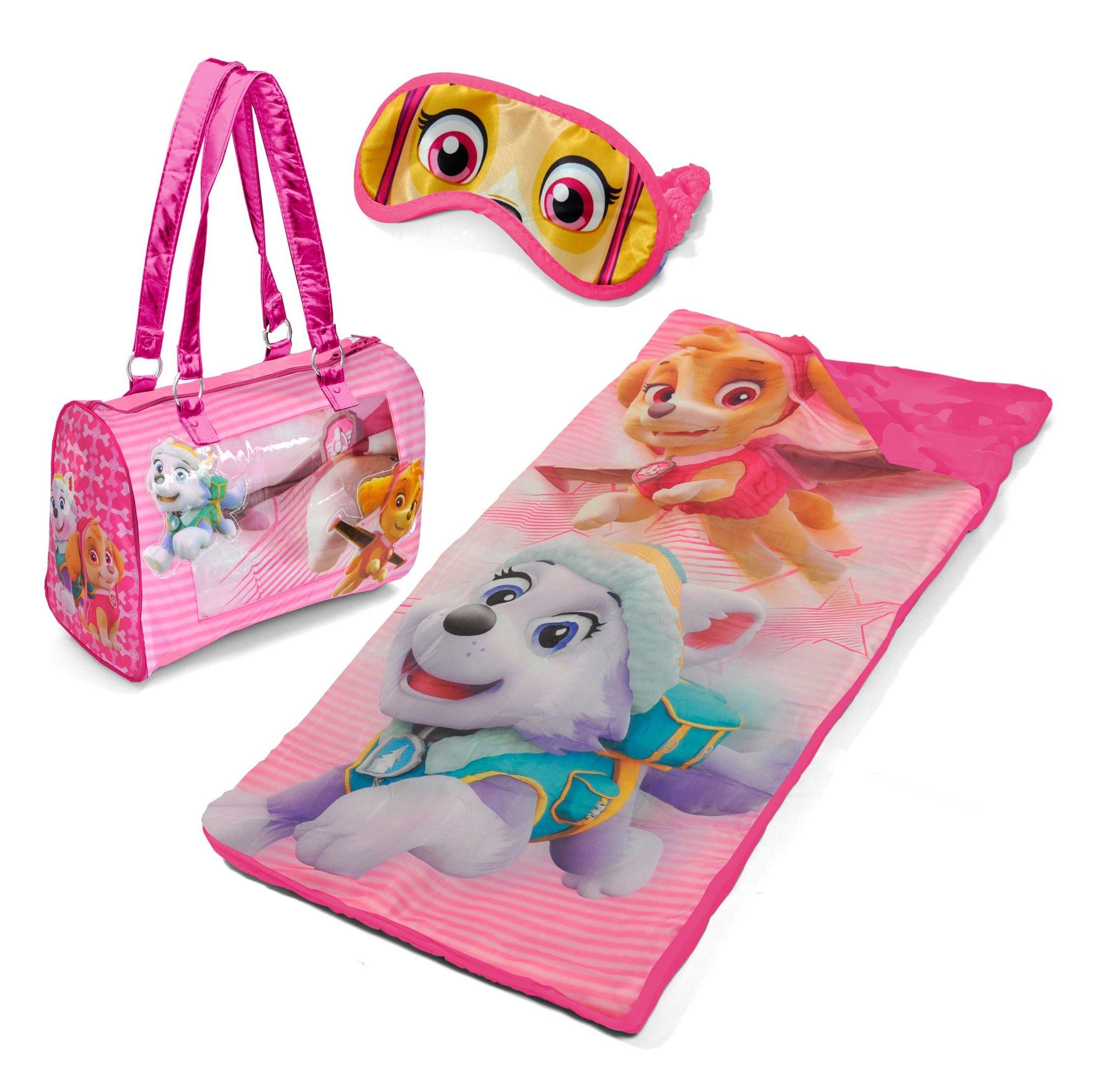 Paw Patrol Girls Sleepover Slumber Set with Sleeping Bag, Eye Mask and Carry Purse