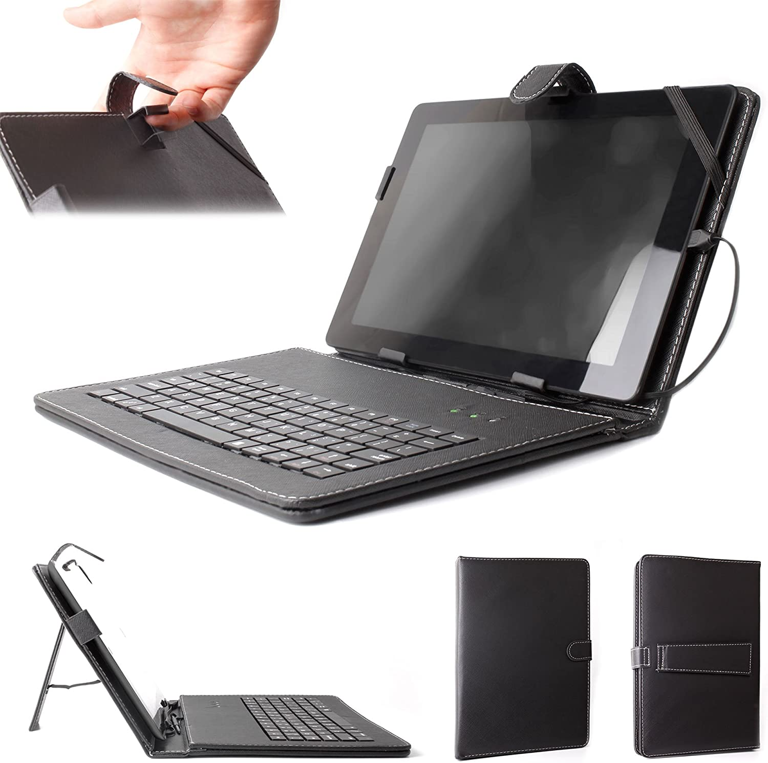 DURAGADGET Black Faux Leather Protective Case w/QWERTY Micro USB Keyboard - Compatible with Acer Iconia Tab A3 | Aspire Iconia Tab A500 10.1 inch & Ionia A200 Tablets