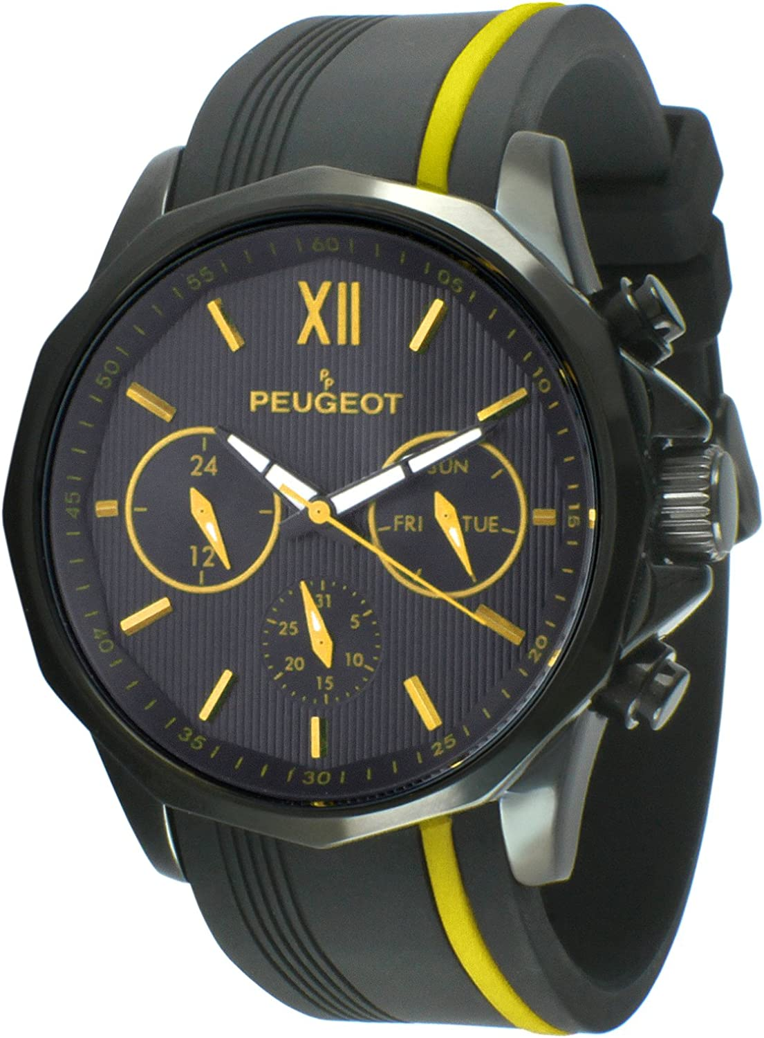 Peugeot Men Big Face Chronograph Sport Watch – Round with Day, Date. 24 Hours Sub Dial Windows Silicone Strap