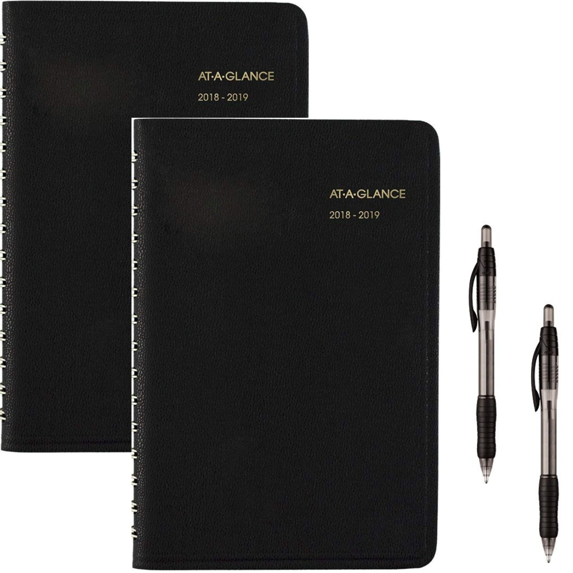 AT-A-Glance 2018-2019 Academic Year Daily Appointment Book/Planner, Small, 4-7/8 x 8, Black (7080705) 2 Pack - Bundle Includes 2 Black Ballpoint Pen